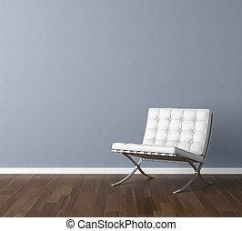 blauwe muur, met, witte , stoel, interieurdesign