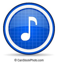 blauwe , muziek, glanzend, achtergrond, witte , pictogram