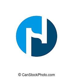 blauwe , n, aanvankelijk, n, vector, ontwerp, brief, logo,...