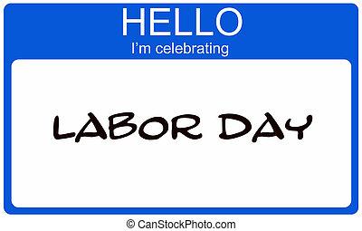 blauwe , naam, arbeid, vieren, label, hallo, dag, i'm