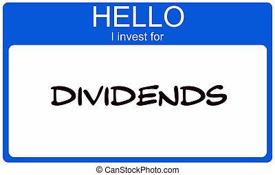blauwe , naam, investeren, label, dividenden, hallo