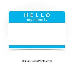blauwe , naam, kleur, sticker, label, leeg, hallo