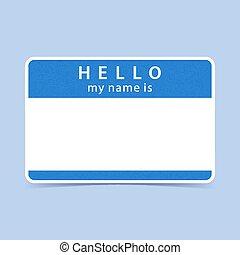 blauwe , naam, sticker, label, mijn, hallo