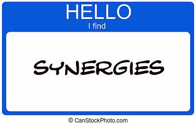 blauwe , naam, synergies, vinden, label, hallo