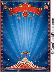 blauwe , nacht, circus, poster