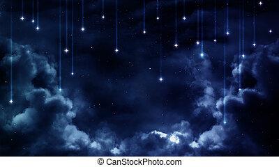 blauwe , nacht, communie, gemeubileerd, sky., achtergrond, vredig, nasa