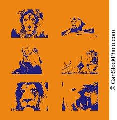 blauwe , nagespoorde, leeuw, figuren, achtergrond, sinaasappel