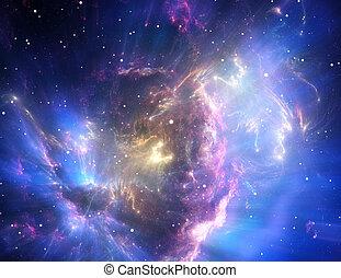 blauwe , nebula, ruimte