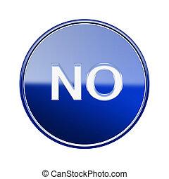 blauwe , nee, vrijstaand, glanzend, achtergrond, witte , pictogram