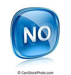 blauwe , nee, vrijstaand, glas, achtergrond, witte , pictogram