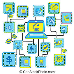 blauwe , networking, schakel, vecto, internet