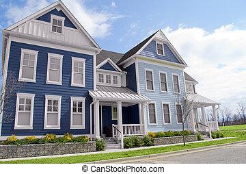 blauwe , new england, stijl, droom, huizen