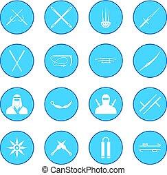 blauwe , ninja, pictogram
