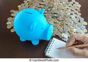 blauwe , notepad, hand, piggy, schrijvende , bank