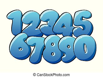 blauwe , numeriek, digits.