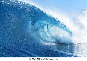 blauwe oceaan, golf