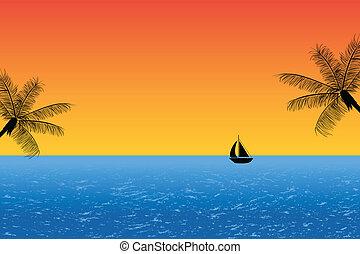 blauwe oceaan, op, ondergaande zon