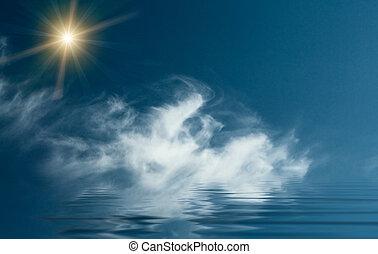 blauwe , ocean., boven, unusually, sunbeams