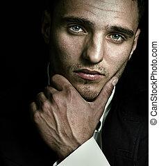 blauwe ogen, artistiek, verticaal, man, mooi