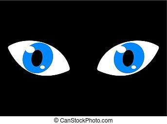 blauwe ogen, op, een, zwarte achtergrond