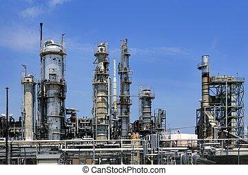 blauwe , olie, hemel, industrie, metaal, skyline, ...