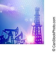 blauwe , olie, wetenschap, achtergrond., boortoren, rijzen kraan uit