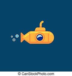 blauwe , onderwater, achtergrond., onder, vrijstaand, gele, water, duikboot, vector, illustratie, zee, water., zwevend