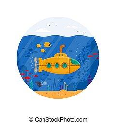 blauwe , onderwaterleven, visje, kleurrijke, coraal, periscoop, vector, bathyscaphe, -, gele, landschap., duikboot, zeewier, concept, plat, illustratie, mal, oceaan, marinier, circle.