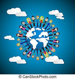 blauwe , ongeveer, mensen, hemel, globe, handen, -, achtergrond, vasthouden, vrouwen