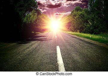 blauwe , op, hemel, hout, groene, wis, ondergaande zon , straat