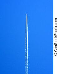 blauwe , op, vliegen, hemel, verwaarlozing, hoog, waken, witte , zijn, hoogte, vliegtuig