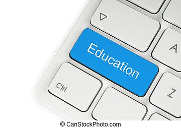 blauwe , opleiding, knoop, op, toetsenbord, op wit,...