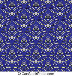 blauwe , ornament., achtergrond, seamless, gele
