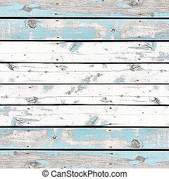 blauwe , oud, geverfde muur, muren, achtergrond, houten, of, textuur