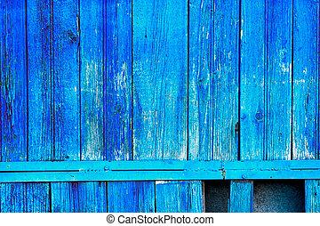blauwe , oud, omheining, geverfde, kleur, helder, grondslagen