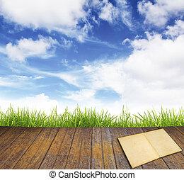 blauwe , oud, sky., vloer, hout, groen gras, boek