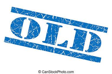 blauwe , oude postzegel, vrijstaand, grunge, witte