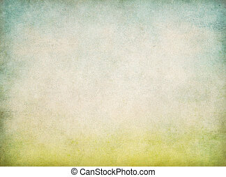 blauwe , ouderwetse , abstract, hemel, papier, groene achtergrond, gras