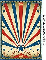 blauwe , ouderwetse , circus, rood, poster