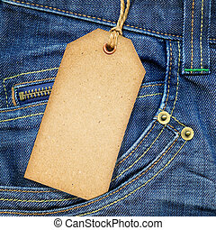 blauwe , ouderwetse , denim, label, papier