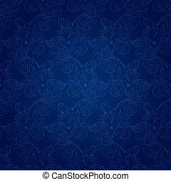 blauwe , ouderwetse , floral, seamless, model