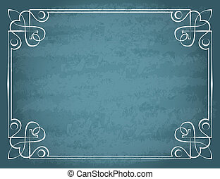 blauwe , ouderwetse , frame, vector, achtergrond