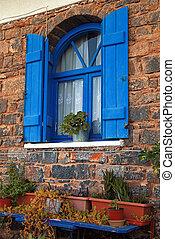 blauwe , ouderwetse , (greece), sluiter, venster