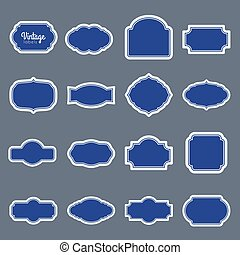 blauwe , ouderwetse , set., etiketten, vector, ontwerp, lijstjes