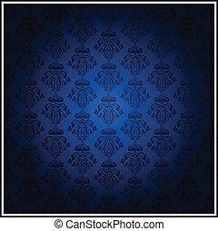 blauwe , ouderwetse , vector, behang