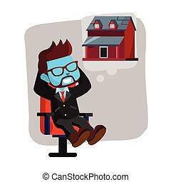blauwe , over, denken, woning, nieuw, zakenman
