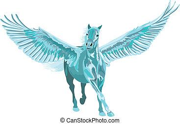 blauwe , paarde, pegasus, open, vleugels, het galopperen