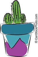 blauwe , paarse , binnen, illustratie, vaas, vector, achtergrond, whte, cactus