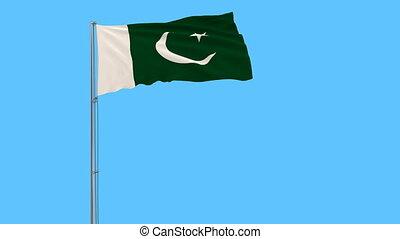blauwe , pakistan, isoleren, vertolking, vlag, achtergrond, flagpole, het wapperen, wind, 3d