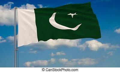 blauwe , pakistan, wolken, hemel, tegen, vlag, achtergrond, zwevend